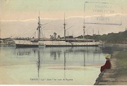 """Polynésie Française - Océanie - Tahiti - Le """"Zélée"""" En Rade De Papeete (Photo Gauthier) Rare Colorisée - Polynésie Française"""