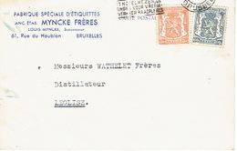"419 + 527 Op PK Met Firmaperforatie (perfin) ""MF"" Van MYNCKE FRERES"" Met Stempel BRUSSEL 1946 - 1934-51"