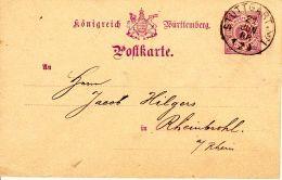 21 Juin 1888; Carte Postale Entier De Stuttgart Vers Rheinbrohl, Lot 47559 - Wurtemberg