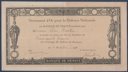 Banque De France.Versement D'Or Pour La Défense Nationale - Monnaies & Billets