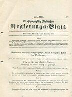 Grossherzogl. Badisches Regierungs-Blatt / 1850 / Inhalt Postvereins-Vertrag, Nachdruck, 16 Seiten (15385-50) - Philatelie Und Postgeschichte