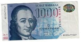 Finland 1000 Marka 1986 Litt. A - Small Tear Low Left - Finland