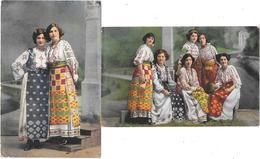 Hongrie  - BANAT - BANATBAN - (2 Cartes)  JEUNES FILLES ROUMAINES En COSTUMES TRADITIONNELS à Banat - Ungheria
