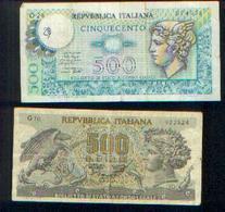 ITALIE  – Lot De 2 Billets De 500 Lire - [ 2] 1946-… : République