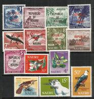 émission Complète Definitive Année 1968,  Tous Surchargés Republic Of Nauru, 14 Timbres Neufs **  Côte 25,00 Euro - Timbres