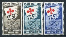 1951 - ITALIA-GINNICI -3 VAL.- M.N.H.-LUXE ! - 6. 1946-.. Republic