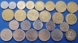 LOT 25 PIECES NOUVEAU FRANC 1 5 10 20 50 CENTIMES 1/2 1 10 FRANCS Cts - France
