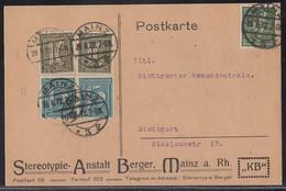 DR Karte Mif Minr2x 159,2x 160,187b Mainz 28.8.22 Geprüft - Briefe U. Dokumente