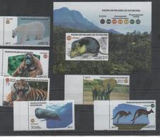 ENDANGERED FAUNA, 2017, MNH, WHALES, TIGERS, POLAR BEARS, ORANG UTANS, ELEPHANTS, KANGAROOS,  6v+S/SHEET - Whales