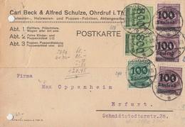 DR Karte Mif Minr.3x 289,290,2x 306 Ohrdruf 18.10.23 Geprüft - Deutschland