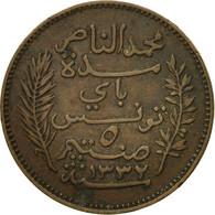 Monnaie, Tunisie, Muhammad Al-Nasir Bey, 5 Centimes, 1914, Paris, TTB, Bronze - Tunisia