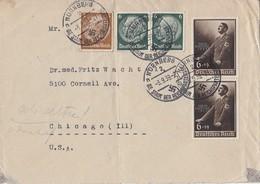 DR Brief Mif Minr.513,2x 516,2x 701 Nürnberg 3.9.39 Gel. In USA - Deutschland