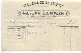 Facture 1/2 Format 1888 / Haute Saône / BRIAUCOURT / Gaston LAMBLIN / Brasserie - 1800 – 1899