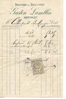 Facture 1/2 Format 18?? / Haute Saône / BRIAUCOURT / Gaston LAMBLIN / Brasserie De Briaucourt / Timbre Fiscal 10c - 1800 – 1899