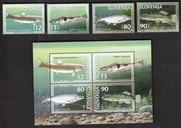 Slovenia 1997 / Fresh Water Fish / Soca Trout, Streber, Vimba, Mudminnow / Michel 178-181 / MNH - Fische