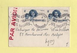 Madagascar - Tananarive - Par Avion Destination France - 1954 - Madagascar (1889-1960)