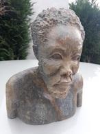 RARE : SCULPTURE TÈTE EN PIERRE DURE - Art Africain
