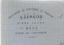 Facture Lettre 1889 /  VOSGES / FONTENOY-LE-CHATEAU / BRASSERIE LEMAIRE / Bière Jeune / Bière De Conserve - 1800 – 1899