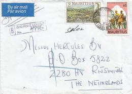 Mauritius 1985 Port Louis Hindu Dayananda Race Course Registered Cover - Mauritius (1968-...)