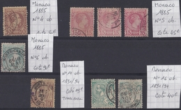 Monaco - 1885/1894 - Lot De 8 Timbres Oblitérés N°4 - N°5 - N°6 - N°14 - N°16 - Monaco