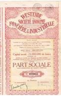 Action Ancienne - Westende Société Anonyme Foncière Et Industrielle - Titre De 1931 - Industrie