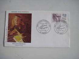 PREMIER JOUR D'EMISSION ROLAND DORGELES 23 Fév 1985 (collection Privée) 80 AMIENS  T.B.E. - Marcofilie (Brieven)