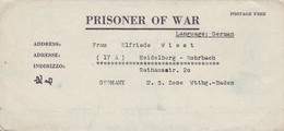 POW Kriegsgefangenenpost PWE 412 5th Lab. Supv. Area APO 21 Nach Heidelberg - 1946 (36182) - Vereinigte Staaten