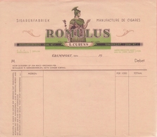 19..: Blanco Factuur Van ## Sigarenfabriek / Manufacture De Cigares «ROMULUS»,  L. CURENS, Kaai, 47, GERAARDSBERGEN / - Belgium