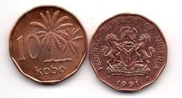 Nigeria - 10 Kobo 1991 AUNC / UNC- With Dot Lemberg-Zp - Nigeria