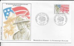 75.- PARIS  70e Anniversaire De L' Entrée En Guerre Des Etats Unis  1987 Premier Jour D' Emission - FDC
