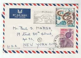1967 MONACO COVER SLOGAN Illus CACTUS  Franked EUROPEAN MIGRATION EUROPA Stamps Airmail  To USA Cacti - Cactusses