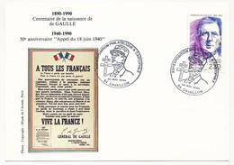 """FRANCE => CP => """"Exposition Philatélique & Cartophile - CAVAILLON - 24 Mai 1990"""" S/ N°2634 2,30 De Gaulle - De Gaulle (General)"""
