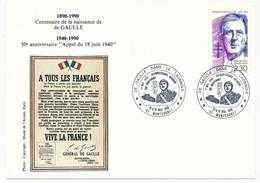 """FRANCE => CP => Oblit. """"De Gaulle Dans Le Laonnais - 02 MONTCORNET"""" S/ N°2634 2,30 De Gaulle - De Gaulle (Général)"""