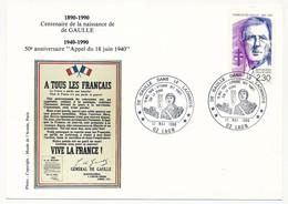 """FRANCE => CP => Oblit. """"De Gaulle Dans Le Laonnais - 02 LAON"""" S/ N°2634 2,30 De Gaulle - De Gaulle (General)"""