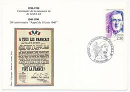 """FRANCE => CP => Oblit. """"1990 Année De Gaulle 92 LEVALLOIS PERRET"""" S/ N°2634 2,30 De Gaulle - De Gaulle (General)"""