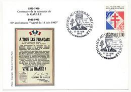 """FRANCE => CP => Oblit. """"Hommage Au Général De Gaulle - 33 MERIGNAC"""" S/ N°2656 2,30 Appel Résistance - De Gaulle (General)"""