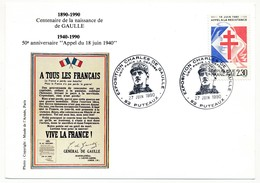 """FRANCE => CP => Oblit. """"Exposition Charles De Gaulle - 92 PUTEAUX"""" S/ N°2656 2,30 Appel Résistance - De Gaulle (General)"""