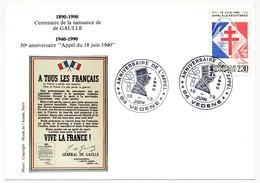 """FRANCE => CP => Oblit. """"ANNIVERSAIRE DE L'APPEL - 84 VEDENE"""" S/ N°2656 2,30 Appel Résistance - De Gaulle (General)"""