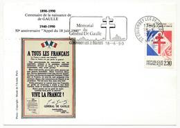 """FRANCE => CP => OMEC. """"Mémorial Du Général De Gaulle - COLOMBEY LES 2 Eglises"""" S/ N°2656 2,30 Appel Résistance - De Gaulle (General)"""