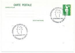 """FRANCE => CP Entier 2,10 Liberté => Oblit """"Exposition Charles De Gaulle - 85 FONTENAY LE COMTE"""" Nov 1990 - De Gaulle (General)"""