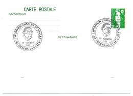 """FRANCE => CP Entier 2,10 Liberté => Oblit """"Exposition Charles De Gaulle - 60 VILLERS S/S St LEU"""" Nov 1990 - De Gaulle (General)"""