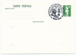 """FRANCE => CP Entier 2,10 Liberté => Oblit """"Hommage Au Général  De Gaulle - 94 MAISONS ALFORT""""  Nov 1990 - De Gaulle (General)"""