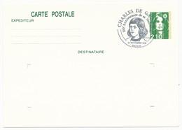 """FRANCE => CP Entier 2,10 Liberté => Oblit """"Charles De Gaulle - 100° Anniversaire De Sa Naissance - PARIS""""  Nov 1990 - De Gaulle (General)"""