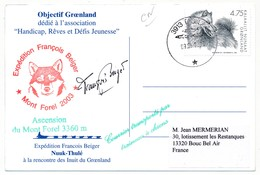 """GROENLAND - Expédition François Beiger """"A La Rencontre Des Inuits Du Groenland"""" - An 2000 - Carte Signée - Timbres"""