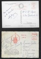 FRANCE EMA SOMMET TOUR EIFFEL 1964 Et MONT ST MICHEL 1954 Sur 2 CP - EMA (Printer Machine)
