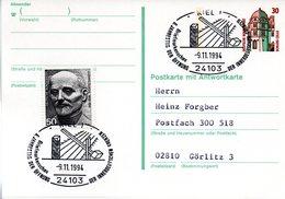 """BRD Amtliche Ganzsachen-Postkarte (Frageteil) P 148F ZF WSt """"Schloß Celle""""30 (Pf) Braun/grün, SSt. -9.11.1994 KIEL 1 - Postcards - Used"""