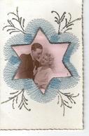 T.Belle Carte Fantaisie Avec Ajoutis - Couple D'amoureux En Médaillon Forme étoile , Tissu , Paillettes ) - Couples