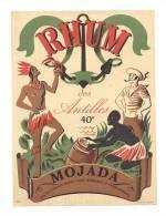 Etiquette De Rhum  Des Antilles   -   Mojada   -  40 ° -  Cie Métropolitaine Des Rhums à Bordeaux - Rhum