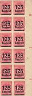 Drei Randbogen Mi. 291 Von 12 Briefmarken, Dreimal Die Selbe Abart, 1923, 125 Tausend - Germany