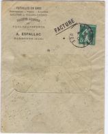 Enveloppe En-tête - AUDE - A. ESPALLAC - Futailles - Location De Wagons - NARBONNE - Documentos Históricos